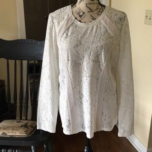 BCBGMaxAria Lacy Cream long sleeve Top